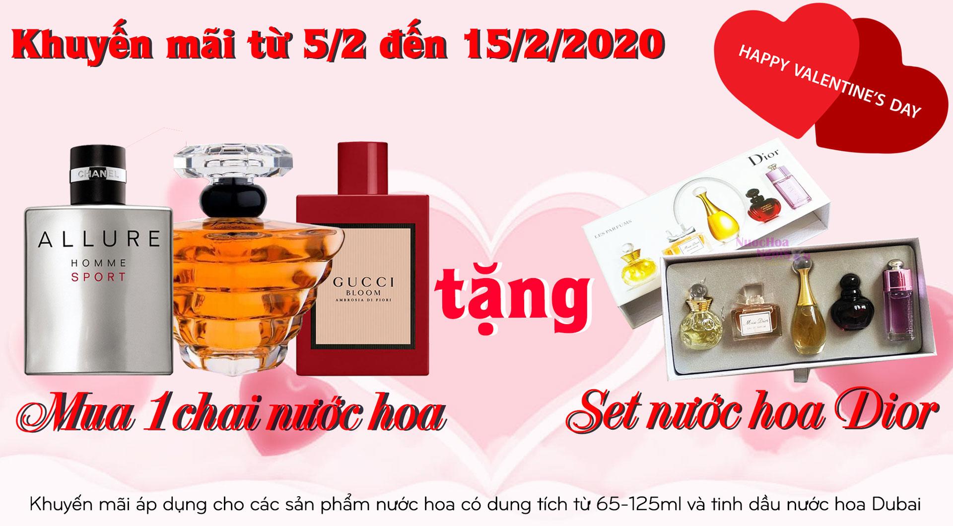 Khuyến mãi nước hoa ngày Valentine: Mua 1 chai nước hoa được tặng 1 set nước hoa Dior