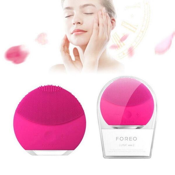 Máy rửa mặt mini rung màu hồng